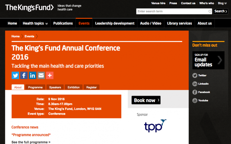 9 November 2016 – The Kings Fund Annual Conference 2016; London