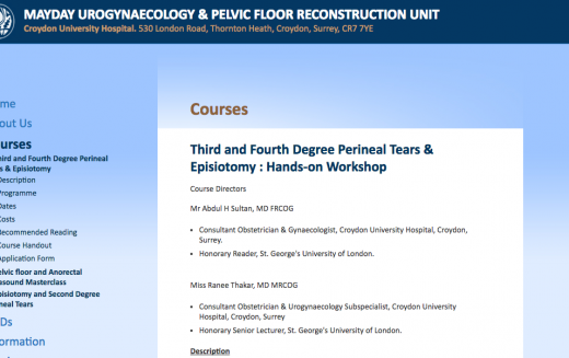 22 April 2017, Third and Fourth Degree Perineal Tears & Episiotomy: Hands-on Workshop; Croydon