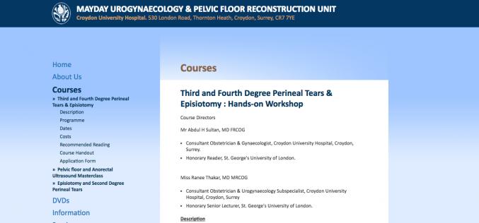 4 November 2017, Third and Fourth Degree Perineal Tears & Episiotomy : Hands-on Workshop; Croydon University Hospital