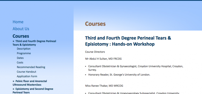 2 June 2018 – Third and Fourth Degree Perineal Tears & Episiotomy: Hands-on Workshop; Croydon