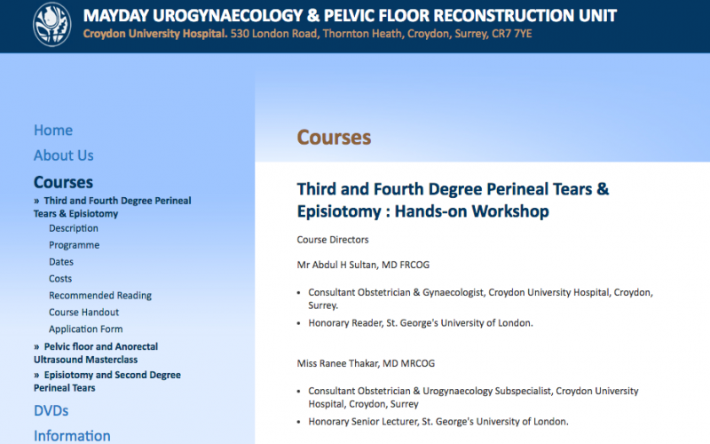 7 April 2018 – Third and Fourth Degree Perineal Tears & Episiotomy: Hands-on Workshop; Croydon