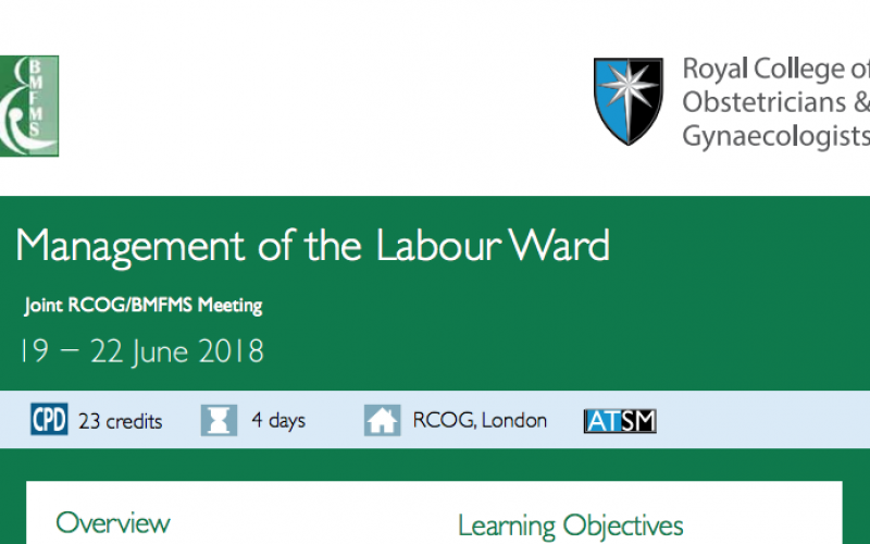 19-22 June 2018, Management of the Labour Ward; London