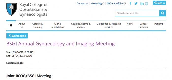 5 April 2019, BSGI Annual Gynaecology and Imaging Meeting; London