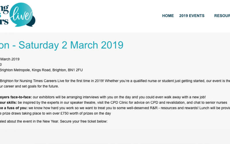 2 March 2019, Nursing Times Careers Live; Brighton