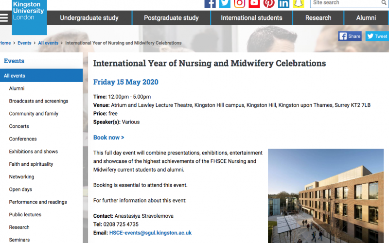 15 May 2020, International year of nursing and midwifery celebrations; Kingston – POSTPONED